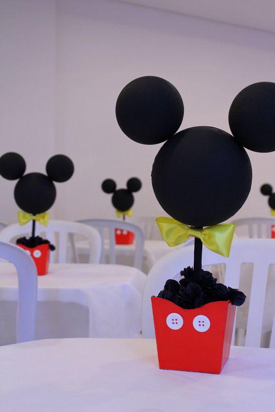 Centros de mesa para cumpleaños de Mickey Mouse