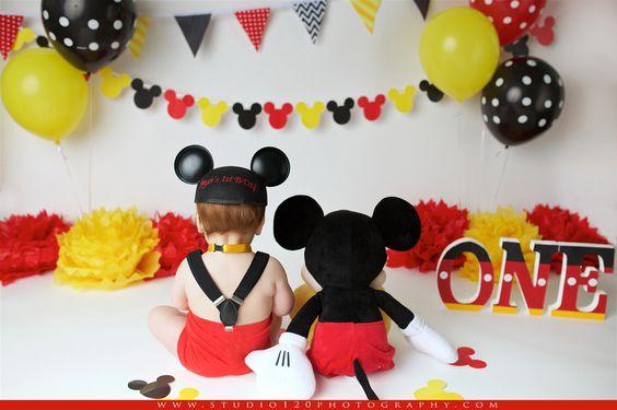 Decoracion de cumpleaños de mickey mouse 1 añito