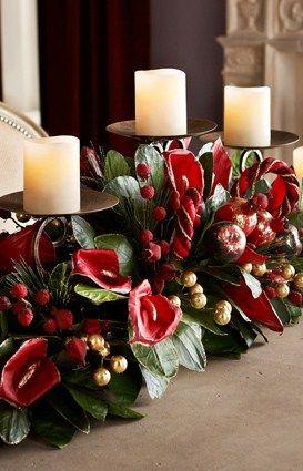 Adornos para centro mesa de navidad 2018 2019 for Centros navidenos con velas