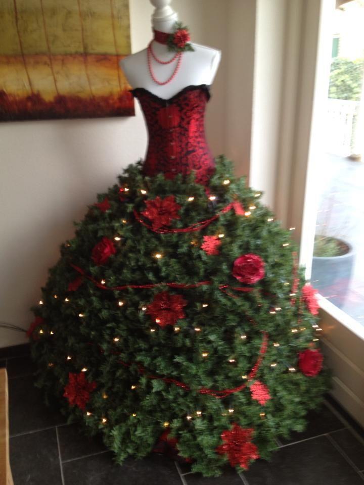 arbol-pino-navidad-con-forma-de-vestido (23) | Decoracion de ...