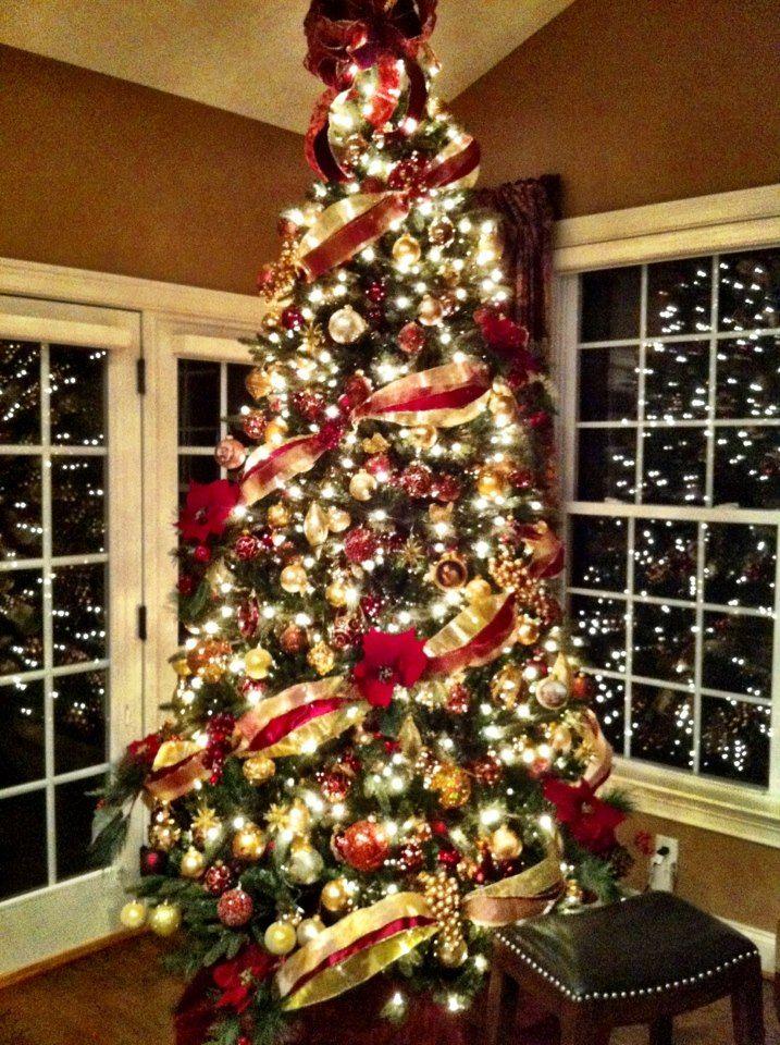 Decoracion navidad rojo con dorado 15 decoracion de - Arboles de navidad dorados ...