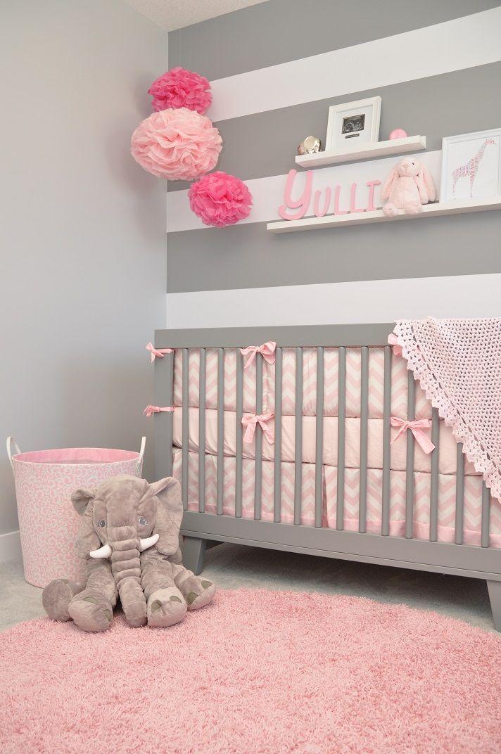 Idea de decoracion cuarto para bebe tonos grises y rosas for Decoracion de interiores en tonos grises