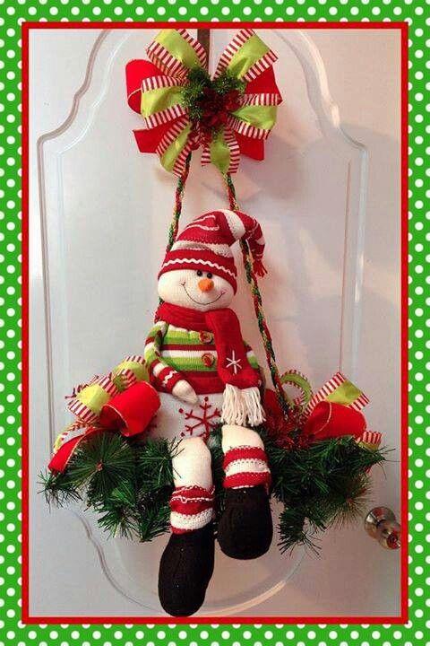 Ideas para decoracion con monos de nieve de fieltro 42 - Arreglo de puertas de madera ...