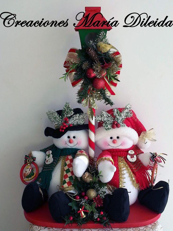 Ideas para decoracion con monos de nieve de fieltro 43 for Decoracion christmas navidenos