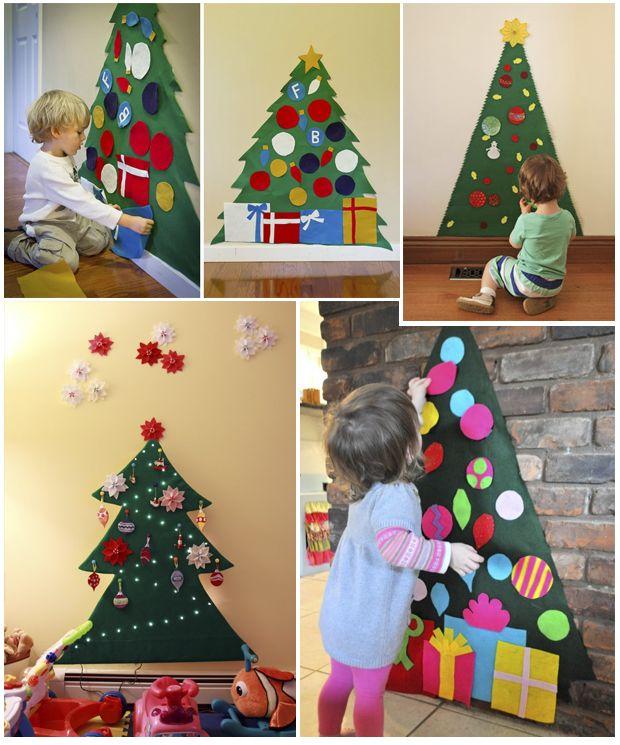 Rboles de fieltro y nacimientos para la pared - Decoracion de arboles navidenos para ninos ...