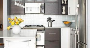 Decoracion en color gris amarillo curso de organizacion for Cocinas pequenas de departamentos