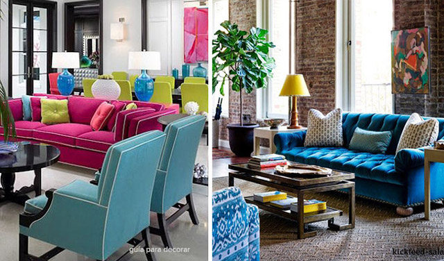 Ideas decoracion salas con color for Colores para salas 2016