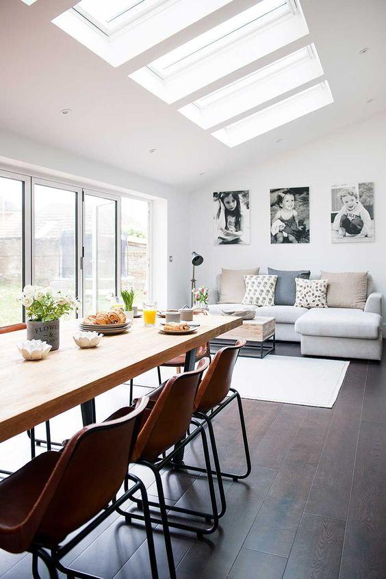 Diseño arquitectónico de sala comedor espacio abierto