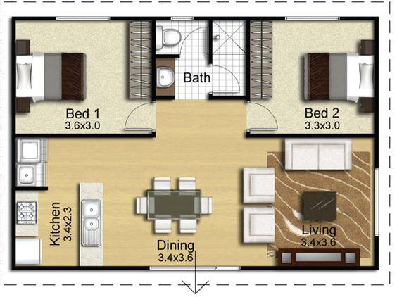 Decoracion de comedor y sala juntos en espacio peque o for Planos de cocina living comedor