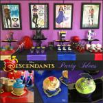 mesa de postres de fiesta de Descendants - Descendientes de disney