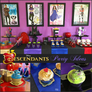 mesa de postres de fiesta de Descendants - Descendientes de disney