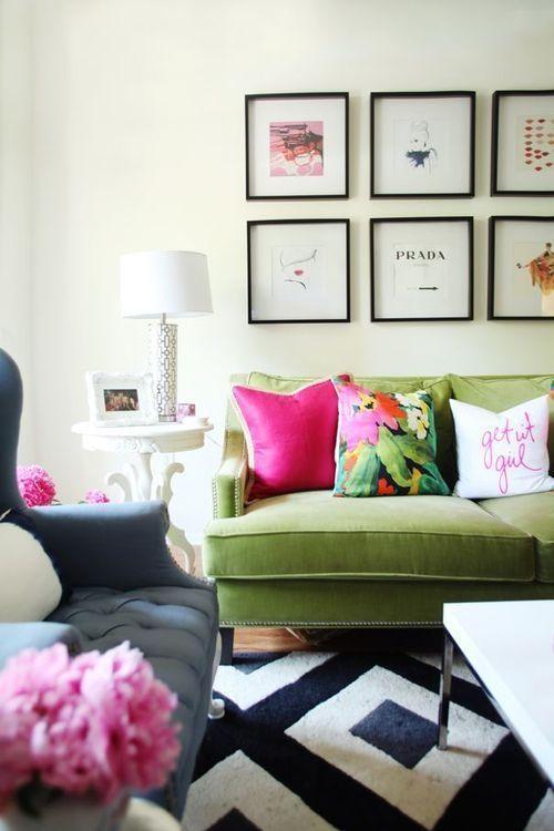 decoracion de salas color verde olivo