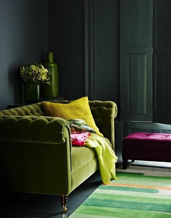 decoracion de salas color verde olivo (3)