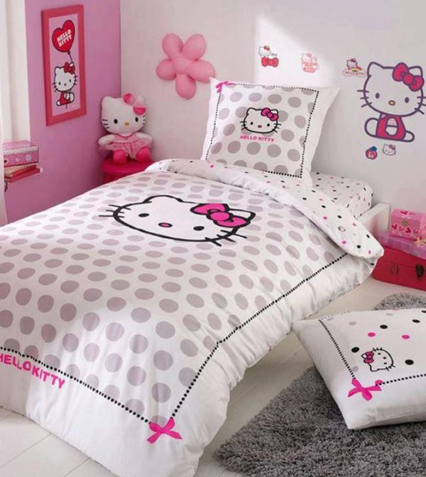 Decoración de recamara de Hello Kitty