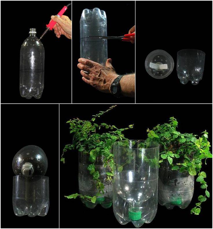 Diy macetas de autorriego con botellas de plastico - Macetas con autorriego ...