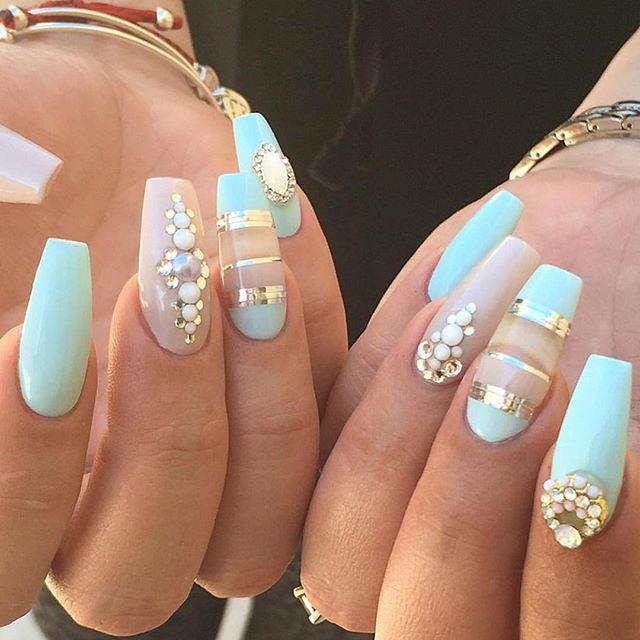 Decoracion De Uñas Color Verde Menta - Arte de uñas