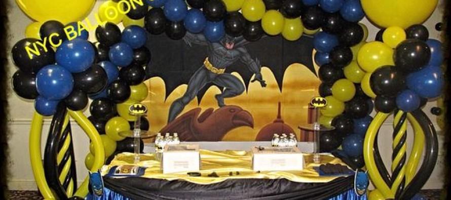 decoracion con globo fiesta batman