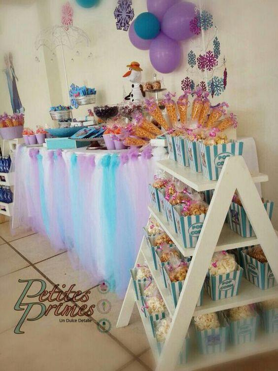 Mesa de postres fiesta pinata cumpleanos de frozen 19 for Mesas dulces cumpleanos