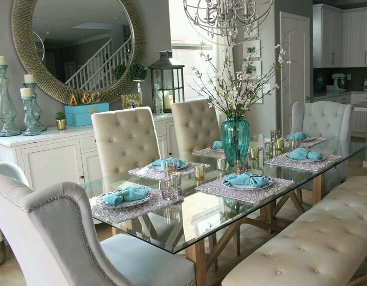 Teal dining table decoracion de comedores elegantes 6 for Comedores elegantes
