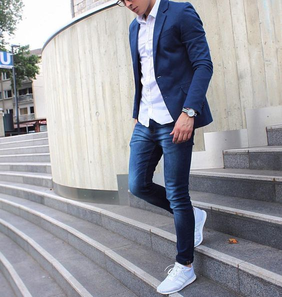 Combinacion de jeans y blazer hombre