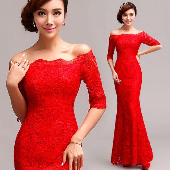 Vestidos de damas para boda rojos