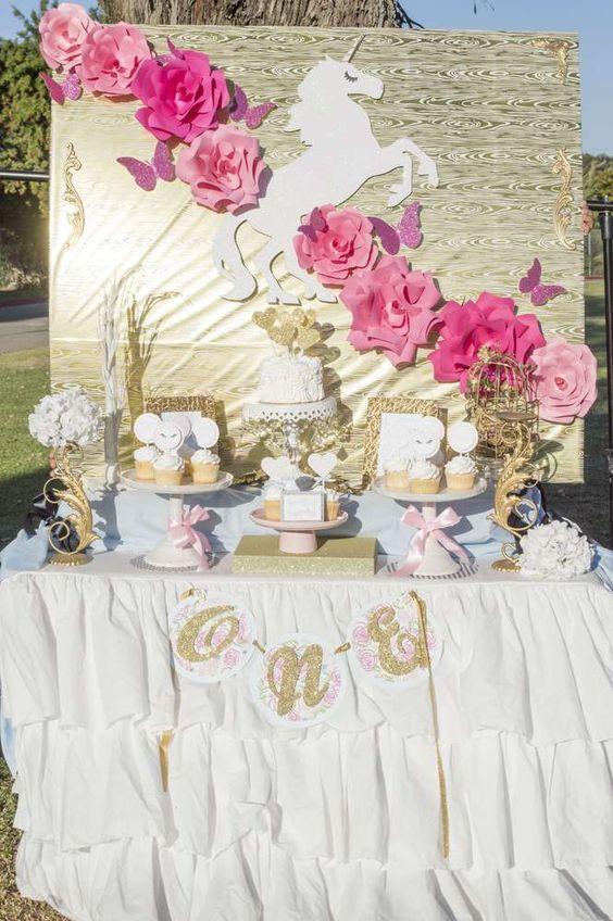 Ideas para decorar una fiesta de cumplea os de unicornios for Decoracion 15 anos unicornio