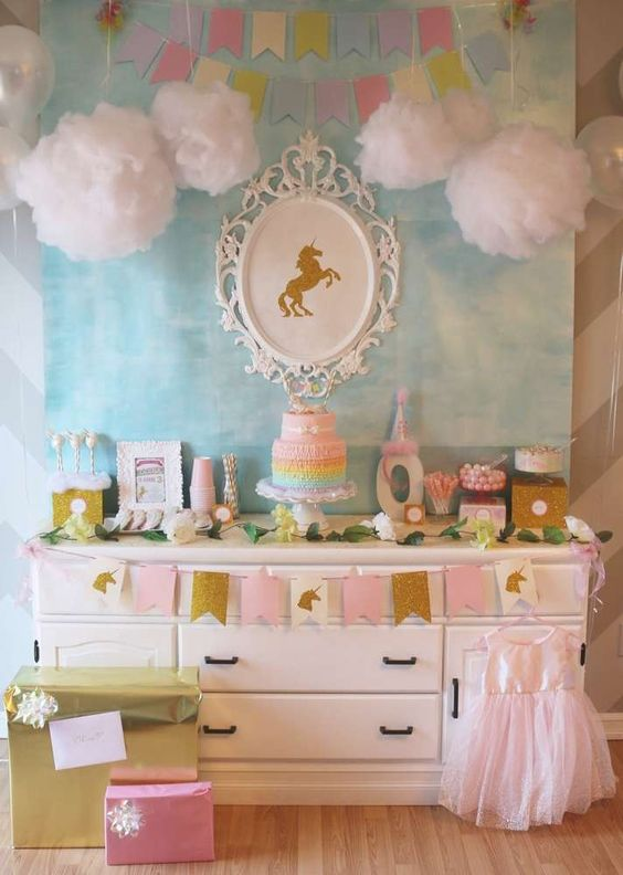 Ideas para decorar una fiesta de cumplea os de unicornios - Ideas para decorar una habitacion de cumpleanos ...