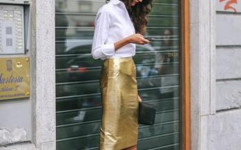 Outfits con faldas de cuero metalicas