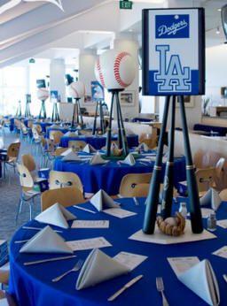 Centros de mesa para fiesta de béisbol
