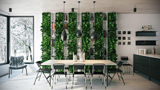 decoracion de comedores con plantas y muros verdes (3)