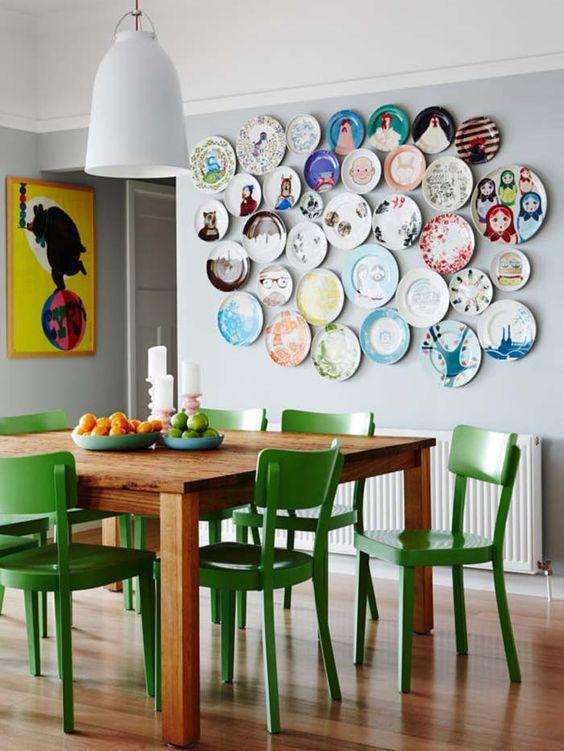decoracion de paredes con platos y ceramicas (2)