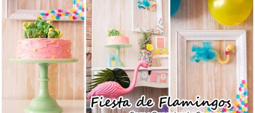 Alberqueada con tema de flamingos para cumpleaños