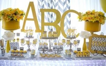 Baby shower tema abecedario – amarillo y gris