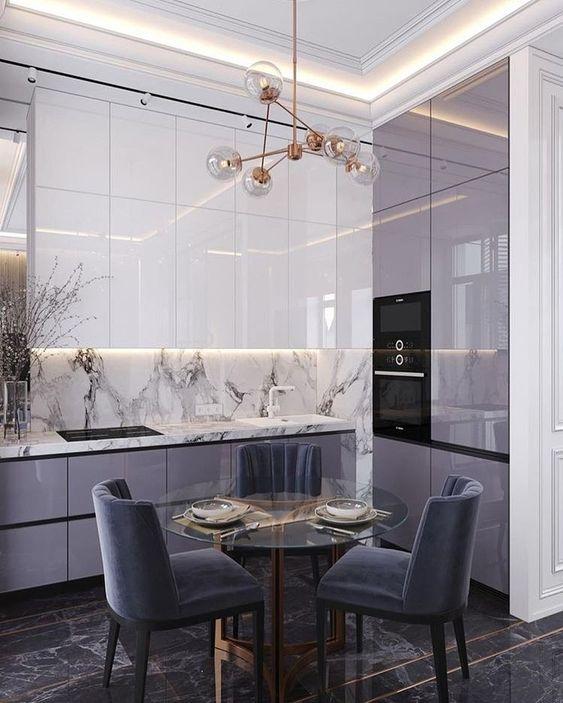 Decoración de interiores cocinas en color gris
