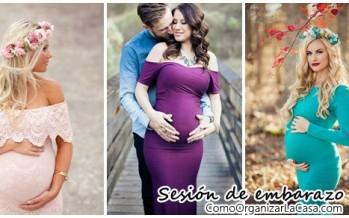 Bellas sesiones para embarazadas con vestido de gala