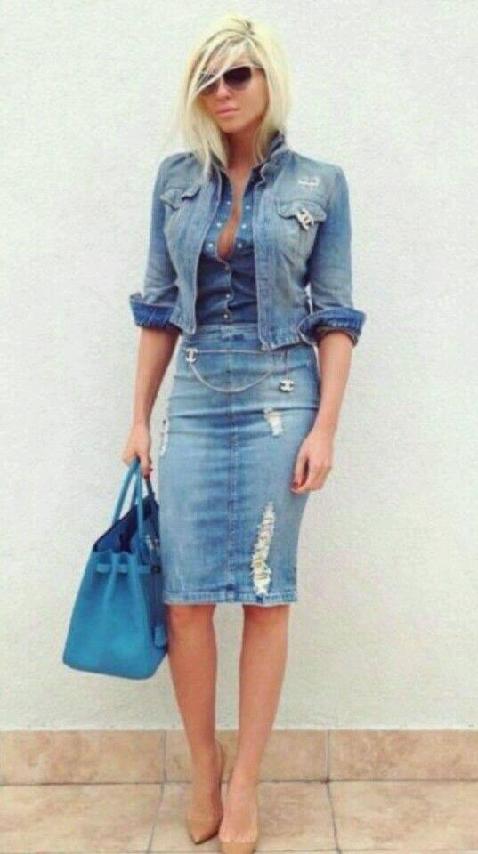 eb4b7fe13 outfits-con-faldas-de-mezclilla-muy-de-moda-17 | Como Organizar la ...