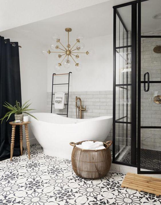 Decoración de baños en blanco y negro