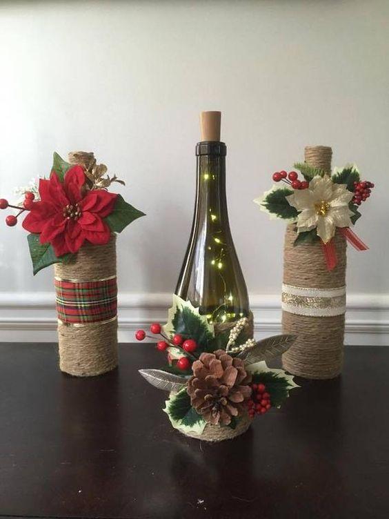 Proyectos navideños DIY con botellas