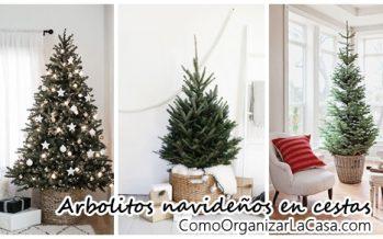 Arbolitos navideños en cestas – ¡Una tendencia que amarás!