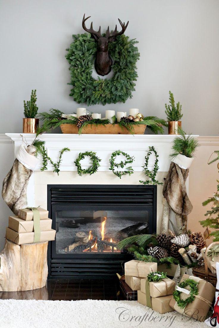 Decoración de navidad estilo rustico para chimeneas