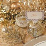 Decoracion navideña en color oro dorado centros de mesa
