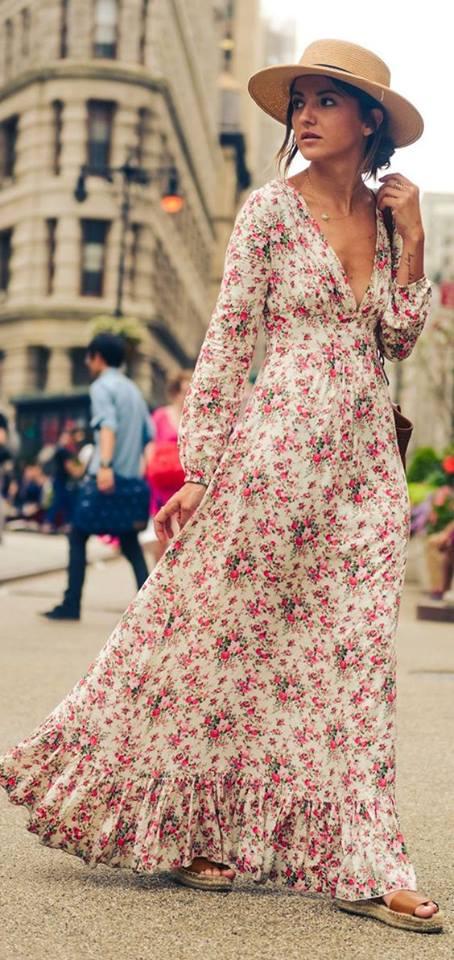 Maxi vestidos con estampado floral