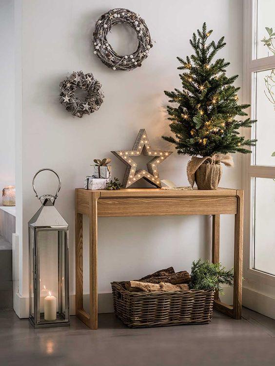 Tendencia en decoración de navidad rustica pinos