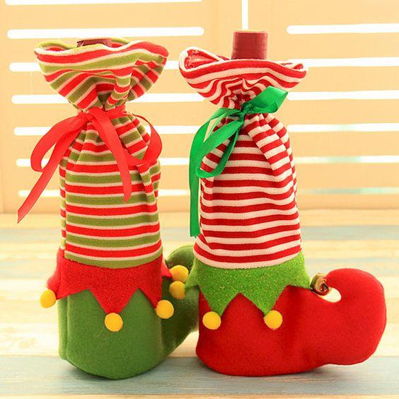 Botas navideñas con botellas