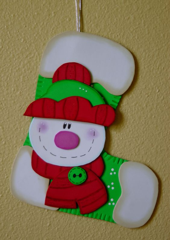 Botas navideñas en foami