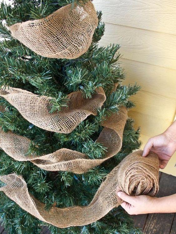 Decoración de arboles de navidad rústicos