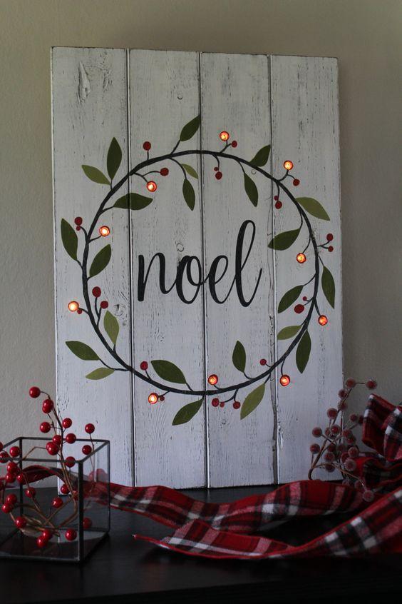 Letreros navideños de madera