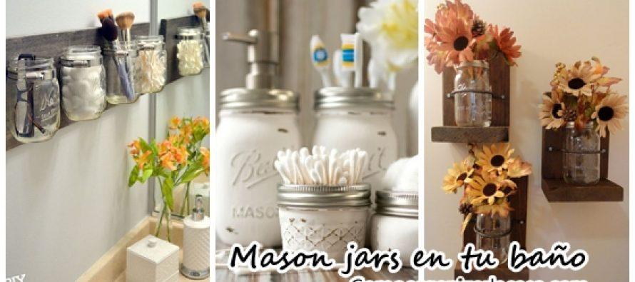 Decoración y organización de baños con mason jars