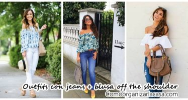 Outfits con jeans y blusas off the shoulder
