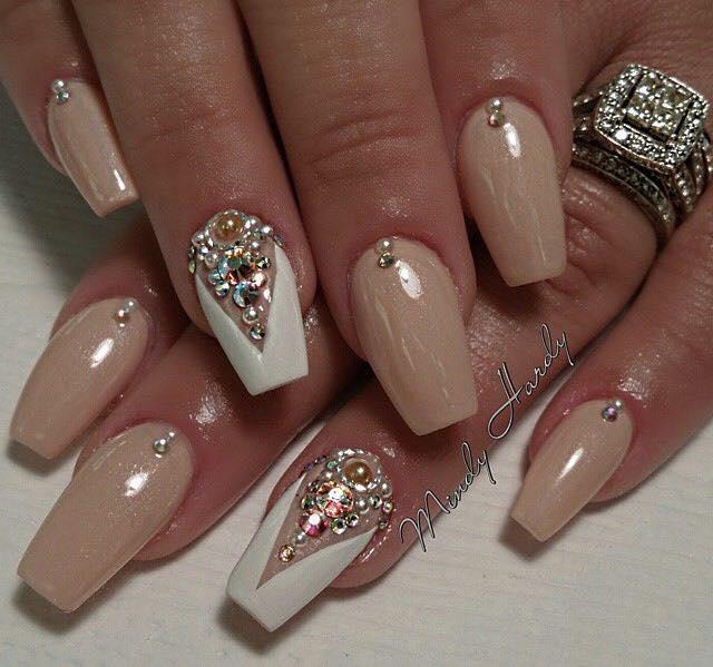 Dark red almond nails